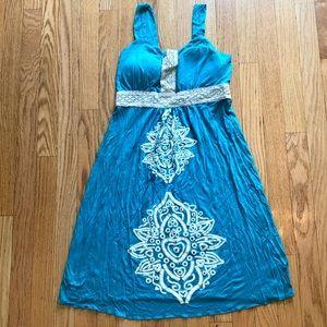 Blue Hawaiian Style Summer Dress Size M